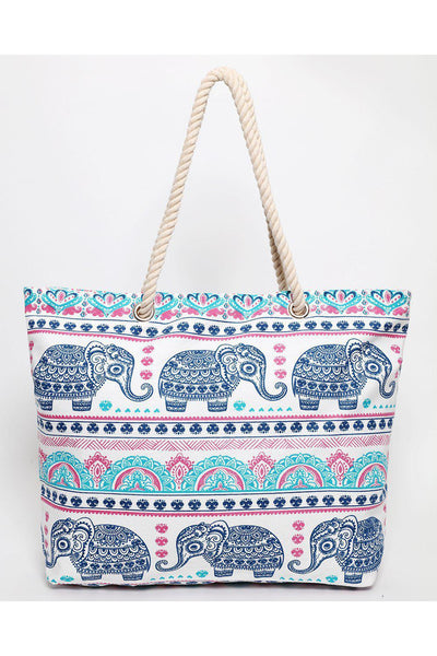 Blue Elephant Print White Beach Bag-SinglePrice