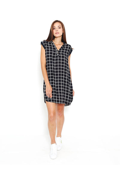 Navy Checkered Sleeveless Shirt Dress-SinglePrice