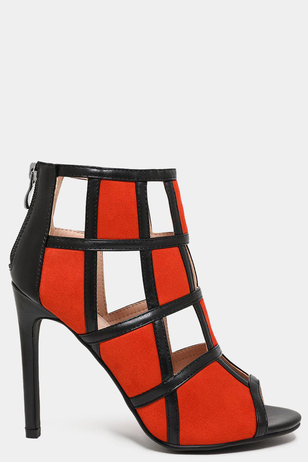 Orange Colour Block Vegan Leather Cage Heels - SinglePrice