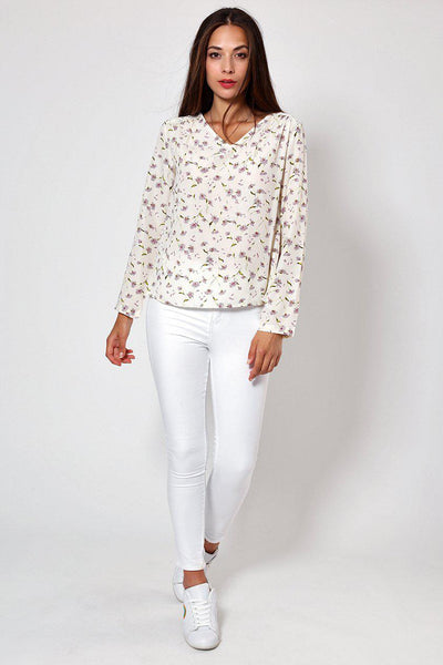 Floral Print Laced Back Beige Blouse-SinglePrice