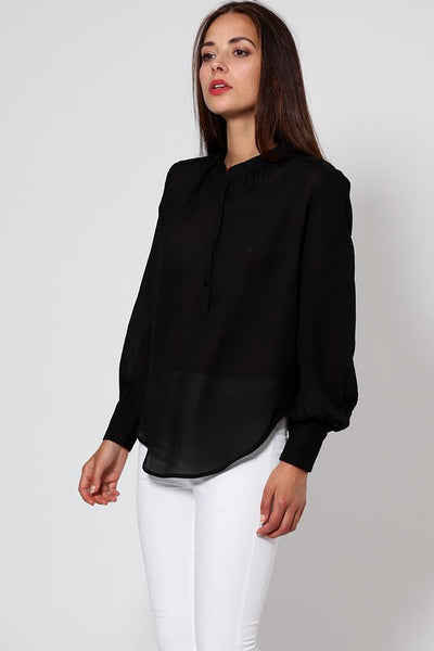 Black Sheer Chiffon Blouse-SinglePrice