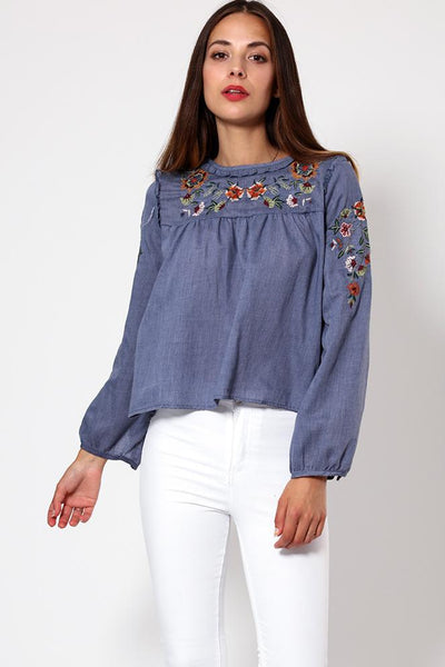 Floral Embroidery Blue Cotton Blouse-SinglePrice