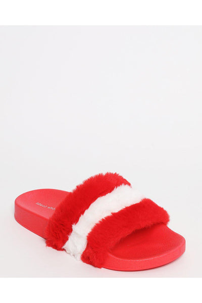 Red Faux Fur Sliders-SinglePrice