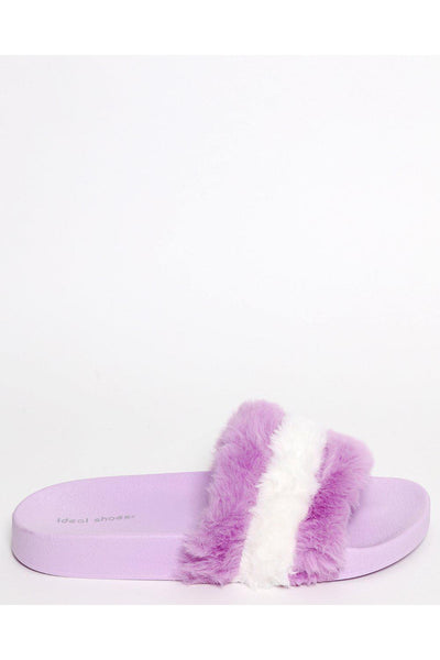 Purple Faux Fur Sliders-SinglePrice
