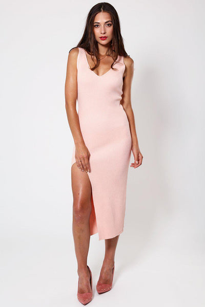 Pink Knitted V-Neck Ribbed Dress-SinglePrice