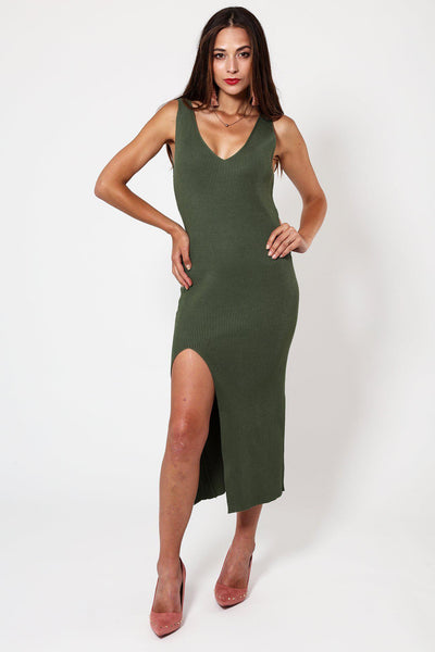 Green Knitted V-Neck Ribbed Dress-SinglePrice