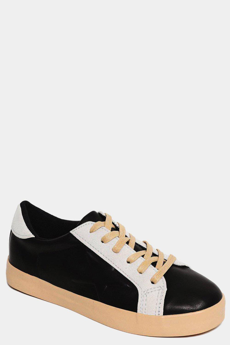 Black Aged Effect Vegan Leather Trainers - SinglePrice