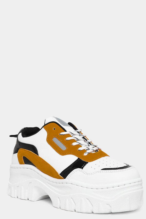 Yellow Vegan Suede And Patent Panels White Chunky Trainers-SinglePrice