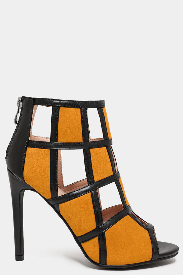Yellow Colour Block Vegan Leather Cage Heels - SinglePrice