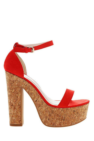 Ankle Strap Red Cork Platform Sandals-Single price