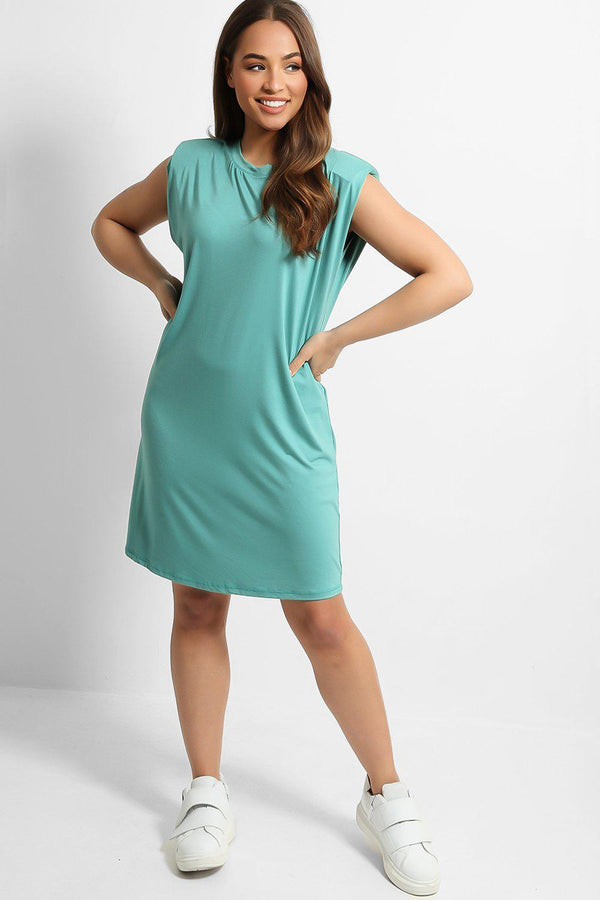 Aqua Padded Shoulder Easy Fit T-Shirt Dress - SinglePrice