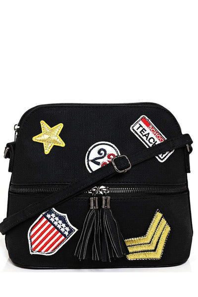 Badges Embellished Black Cross Body Bag-SinglePrice