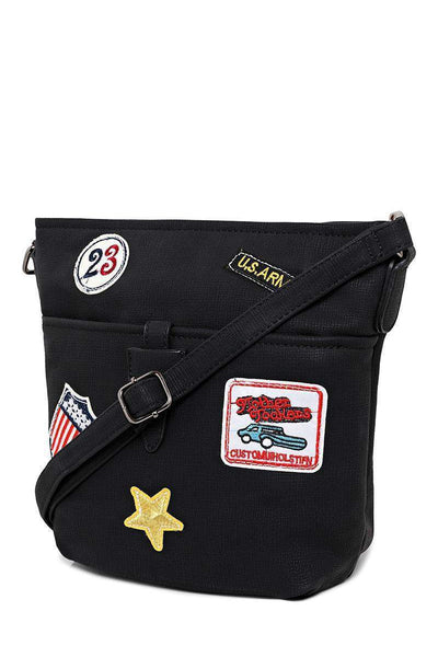 Badges Embellished Black Side Bag-SinglePrice