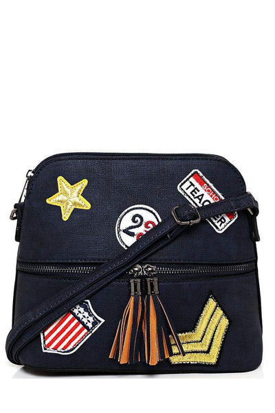 Badges Embellished Blue Cross Body Bag-SinglePrice