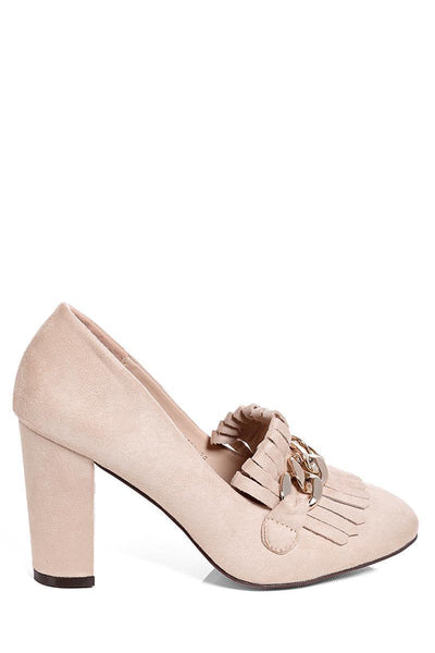 Beige Chain Detail Heeled Loafer-SinglePrice