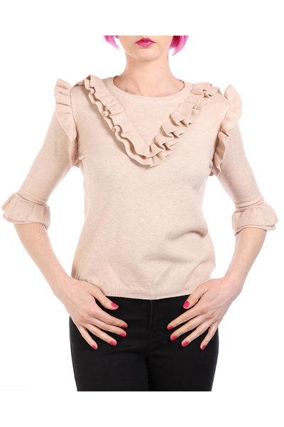 Beige Frill Details 3/4 Sleeves Pullover-SinglePrice