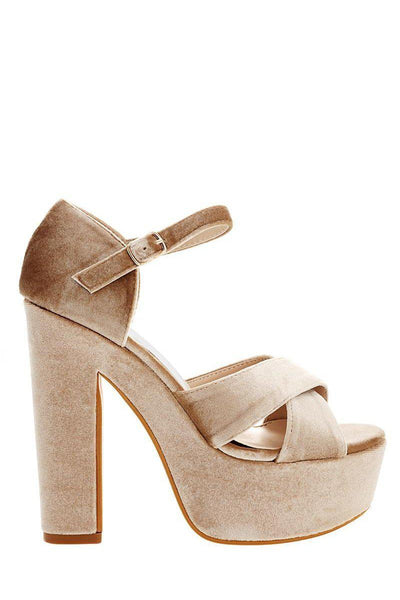 Beige Velvet Platform Sandals-Single price