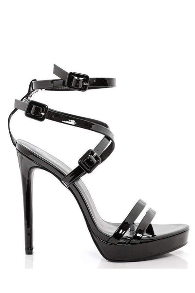 Black Cross Over Patent Straps Heels-Single price