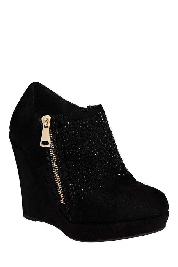 Black Crystals Embellished Suede Wedge Boots-Single price