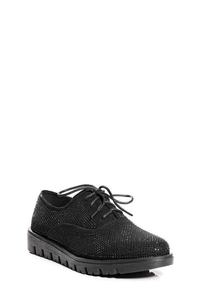 Black Diamante Embellished Oxford Shoes-Single price