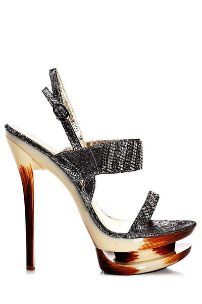 Black Embellished Stiletto Heels-Single price