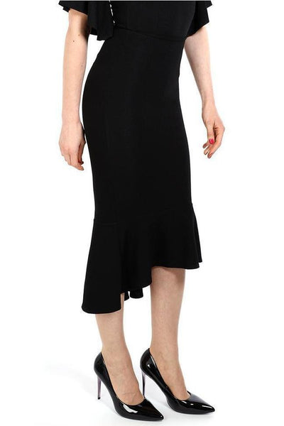 Black Fishtail Hem Midi Skirt-SinglePrice