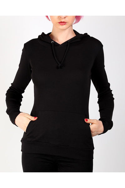 Black Fitted Thin Hoodie-SinglePrice