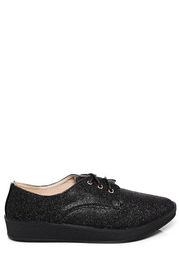 Black Glitter Flat Shoes-SinglePrice