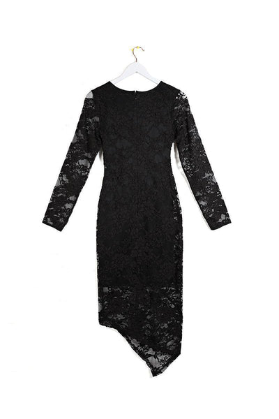 Black Lace Long Sleeve Midi Dress-SinglePrice