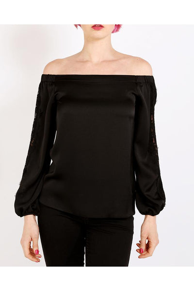 Black Lace Satin Off Shoulder Top-SinglePrice