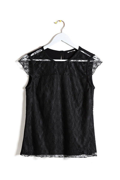 Black Lace Sleeveless Top-SinglePrice