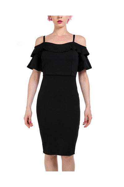 Black Midi Off Shoulder Bodycon Dress-SinglePrice