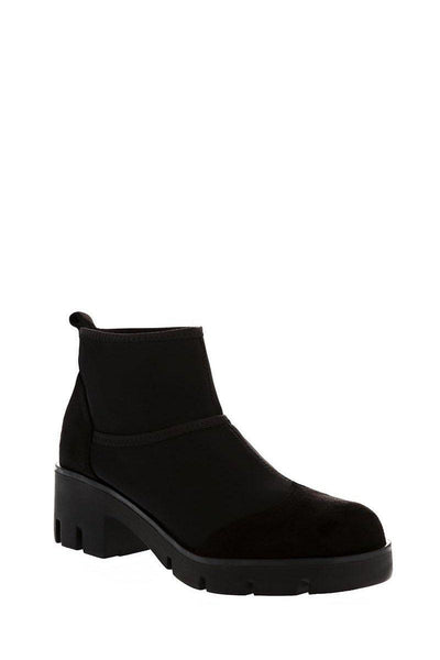Black Mixed Fabric Sock Ankle Boots-Single price