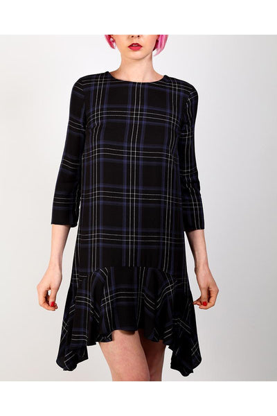 Black Plaid Frill Midi Dress-SinglePrice
