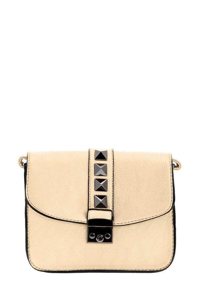 Black Pyramid Studs Gold Cross Body Bag-SinglePrice