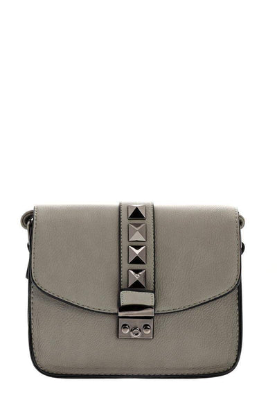Black Pyramid Studs Grey Cross Body Bag-SinglePrice