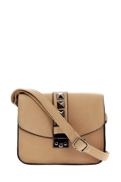 Black Pyramid Studs Taupe Cross Body Bag-SinglePrice
