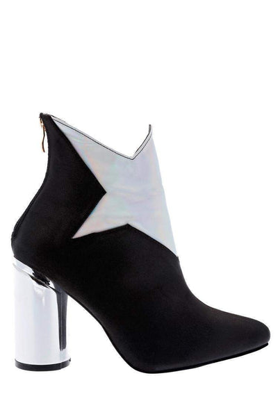 Black Satin Contrast Star Ankle Boots-Single price