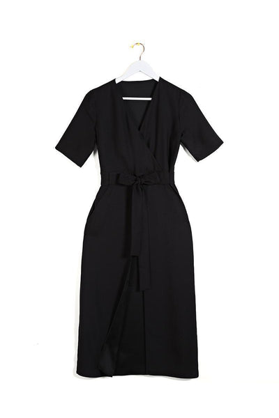Black Short Sleeve Wrap Dress-SinglePrice