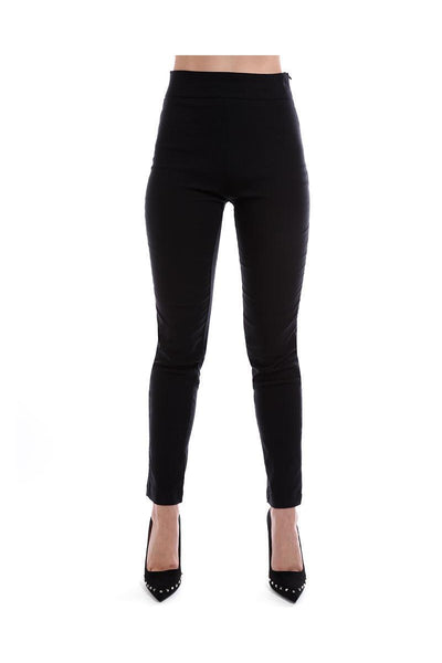 Black Skinny Leg Stretch Trousers-SinglePrice