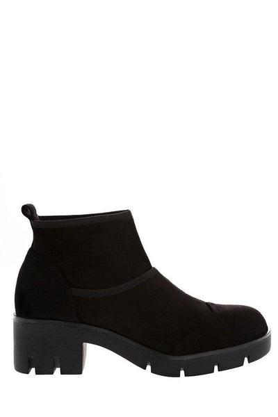 Black Sock Block Heeled Ankle Boots-Single price
