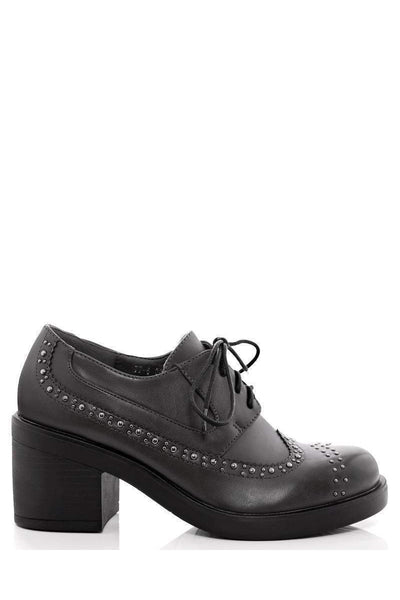 Black Square Heel Studded Oxford Shoes-Single price