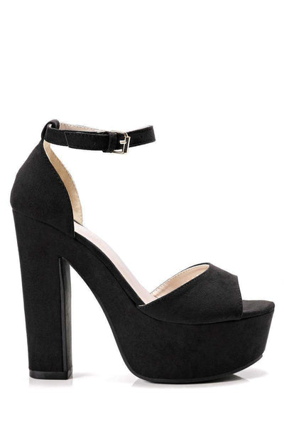 Black Suede Block Heel Sandals-Single price