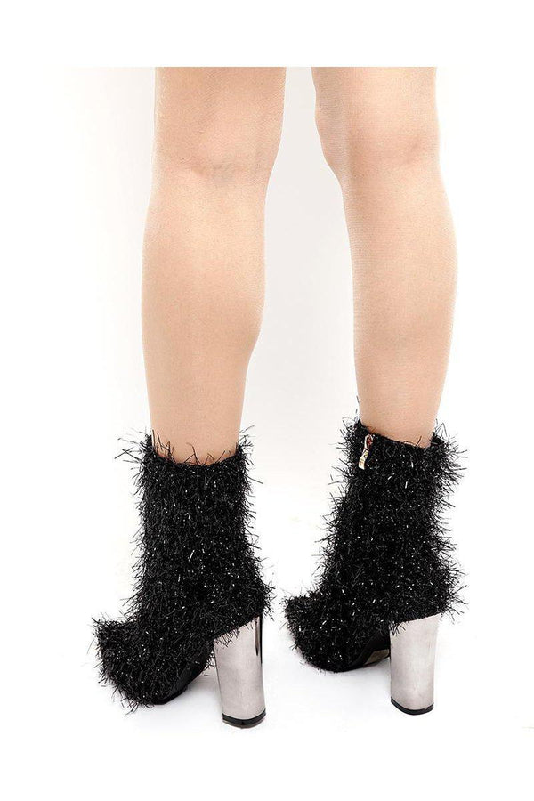 Black Tinsel Ankle Boots-SinglePrice