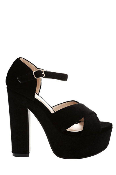 Black Velvet Platform Sandals-Single price