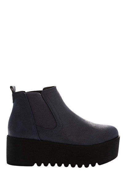 Black Wedge Blue Chelsea Boots-Single price