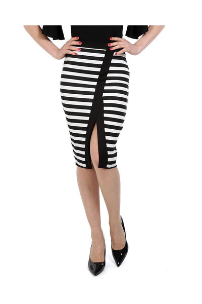 Black White Front Split Stripy Midi Skirt-SinglePrice