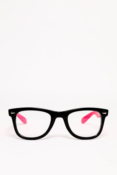 Black And Pink Frame Clear Lens Glasses