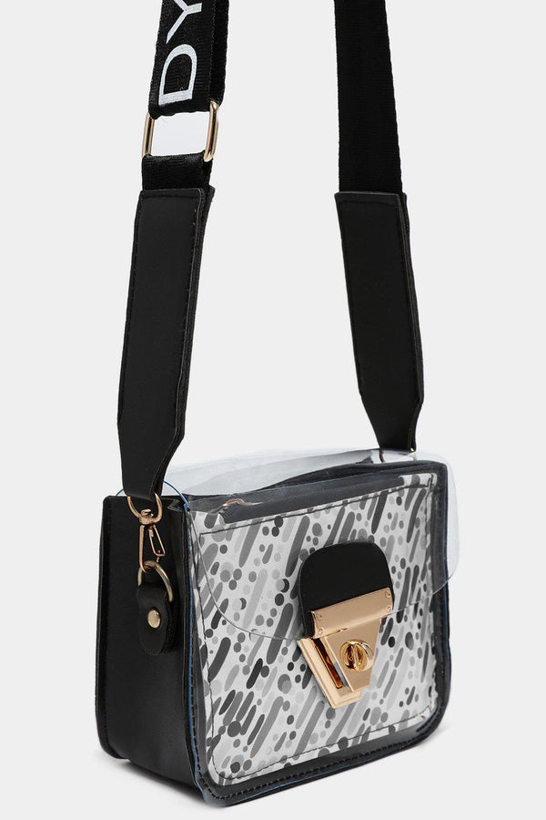 Perspex Black Mini Crossbody Bag With Pouch In Grey Strokes-SinglePrice