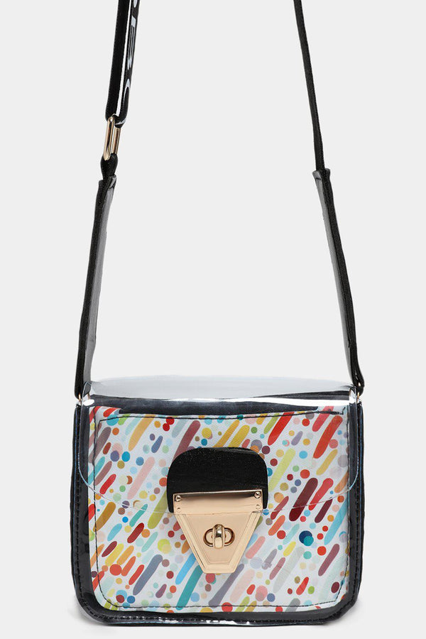 Perspex Black Mini Crossbody Bag With Pouch In Multicolor Strokes-SinglePrice